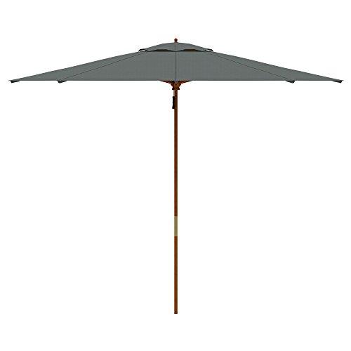 paramondo parakoala Holz-Sonnenschirm Gartenschirm, Sonnenschutz, Gestell u. Mast aus nachhaltigem Eukalyptusholz, Ø 3 m, Höhe 2,50 m, UV-Schutz 40+, rund, Grau