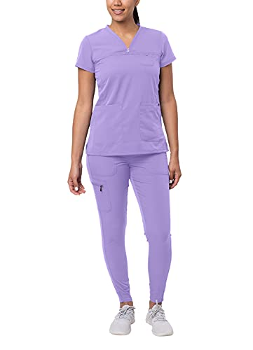 Adar Pro Movement Booster Scrub Set for Women - Sweetheart V-Neck Scrub Top & Yoga Jogger Scrub Pants - P9400 - Lavender - L