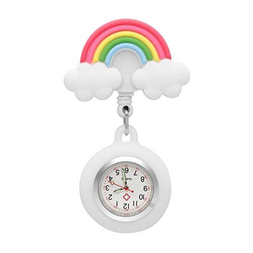 JSDDE Uhren Krankenschwesteruhr Set Pulsuhr FOB Uhr Pflegeruhr Regenbogen Muster Schwesternuhr Ansteckuhr Zeiger mit Leuchtend Brosche Taschenuhr Analoge Quarzuhr (Weiß)