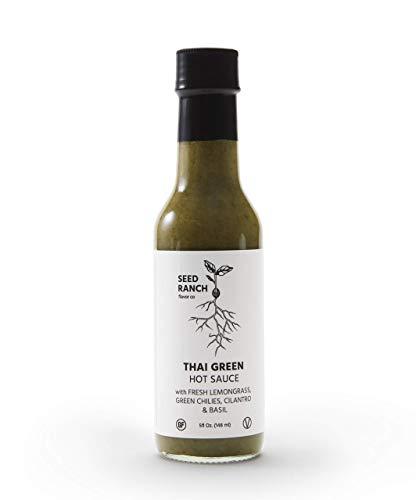 Seed Ranch Flavor Co  Thai Green MildMedium  Gourmet Organic Hot Sauce with HomeGrown Chili Peppers Garlic Lemongrass Thai Ginger Cilantro Basil