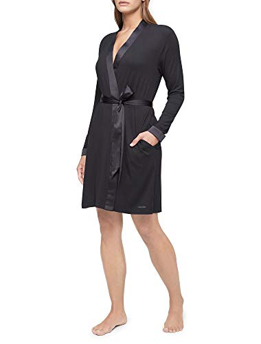 Calvin Klein Damen Modal Satin Lounge & Sleep Robe Bademantel, schwarz, Medium-Large