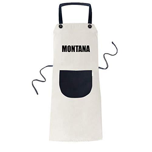 DIYthinker Montana Ville Nom Cuisiner Cuisine Beige Réglable Tablier Bavoir de Poche Femmes Hommes Chef de Cadeau 70cm x 67cm Noir