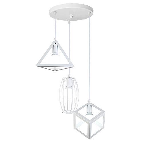 iDEGU - Lampadario a sospensione, design geometrico moderno, E27, lampadario a sospensione, paralume in metallo, per camera e soggiorno bianco