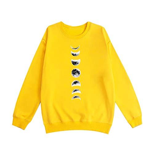 Couple Sweat Unisexe Hommes Femmes Phase De Lune Imprimer O-Cou À Manches Longues T-Shirt Top Tee Shirt Pull Automne Hiver Printemps Qikoup