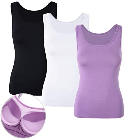 DYLH 1/3 Packs Camisetas con Sujetador Incorporado para Mujer para IR a Gimnasio Fitness Deportes Yoga Camisetas Mujer Tirantes Camiseta de Tirantes Mujer con Sujetador