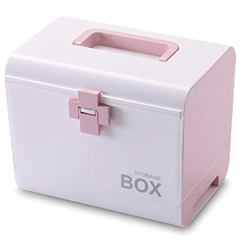 ごちそうフリース飢SODIAL 薬箱応急処置ボックス 収納ボックス プラスチック容器応急処置ボックス ポータブル多層大容量収納収納ボックス ピンク