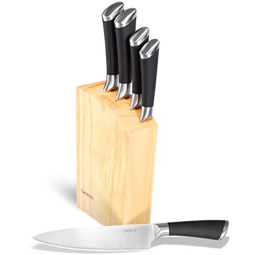 DENKICH Juego de Cuchillos de Cocina de Acero Inoxidable (Cuchillo de Fruta + Cuchillo de Pan + Cuchillo de Cocina + Cuchillo de Carne + Cortador de Huesos + Soporte de Madera)