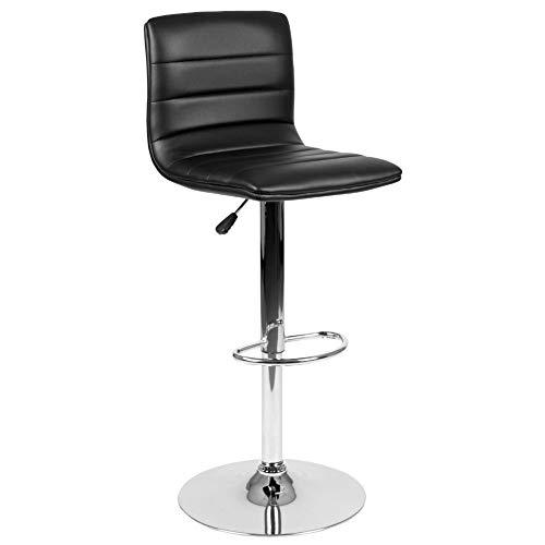 Flash Furniture Modern Black Vinyl Adjustable Bar Stool with Back,...