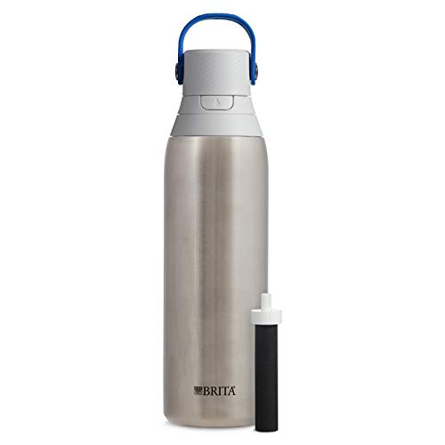 Brita 20 Ounce Premium Filtering Water Bottle with Filter - Double Wall Insulated Bottle - BPA Free - Stainless Steel