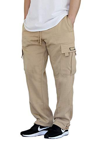 AIRNINE Men's Fleece Cargo Sweatpants Heavyweight S-6XL (Khaki, X-Large)