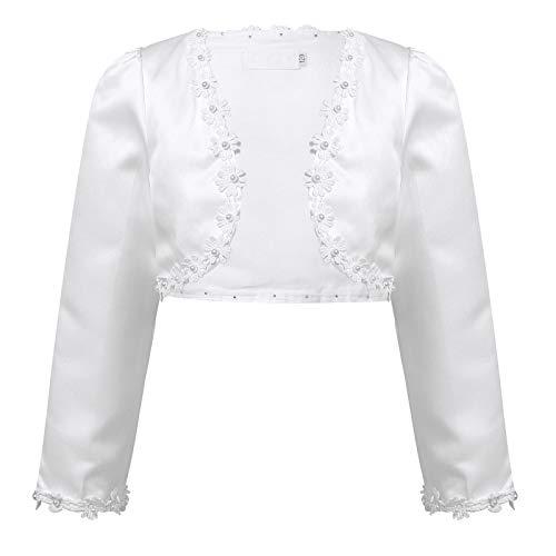 IEFIEL Bolero Floral de Vestidos de Fiesta Niña Chaqueta Elegante de Vestido Princesa Cardigan Mangas Largas para Ceremonia Boda Niña (9 Meses-10 Años) Blanco B 5-6 años