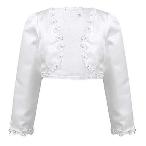 IEFIEL Bolero Floral de Vestidos de Fiesta Niña Chaqueta Elegante de Vestido Princesa Cardigan Mangas Largas para Ceremonia Boda Niña (9 Meses-10 Años) Blanco B 6-7 años