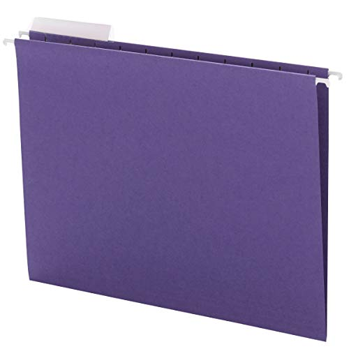 Smead Hanging File Folder with Tab, 1/3-Cut Adjustable Tab, Letter Size, Purple, 25 per Box (64023)