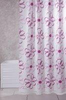 wohnideenshop Duschvorhang Viola weiß mit Rosa Pink Blumen Textil 120cm breit x 200cm lang inkl. Ringe
