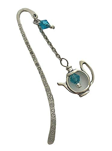 Antiqued Silver Aquamarine Beaded 3.5 Inches Engraved Teapot Bookmark Gift