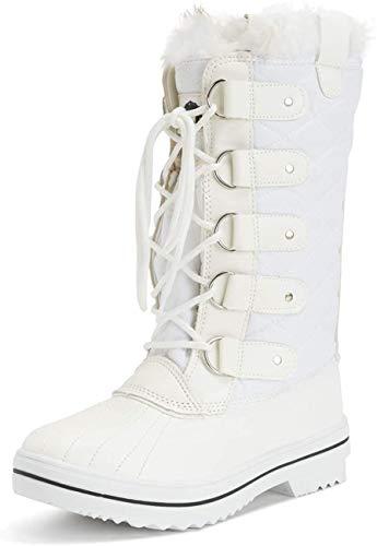 Holly Damen Schnee Stiefel Nylon Tall Wasserdicht Gefüttert Regen Stiefel - Weiß - 40