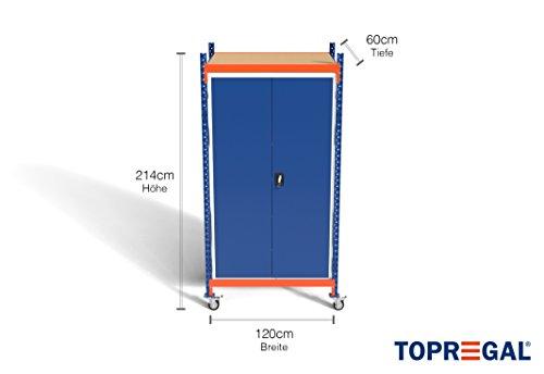 Opbergrek voor zware lasten, verrijdbaar, inclusief metalen kast of kast, b 120 × h 214 cm × d 60/80 cm, mit Metallschrank, Tiefe 60cm, 1