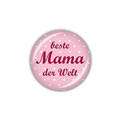 lijelove® Button 25mm Ø DOTS & Stripes Beste Mama der Welt, rosa (Art. 04-00GS)