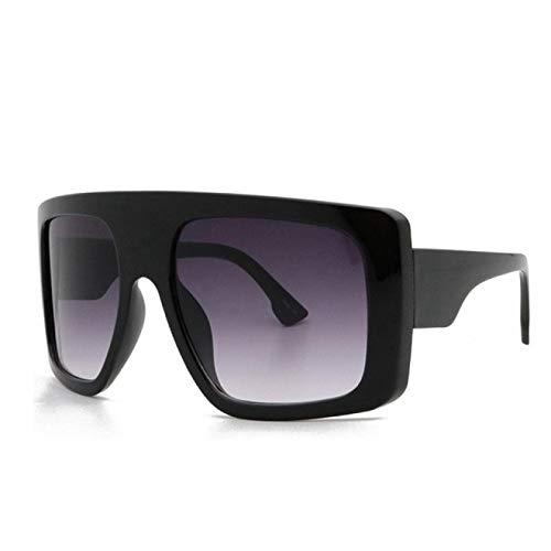 Gafas de Sol Sunglasses Gafas De Sol Cuadradas para Mujer, De Gran Tamaño, Enormes, Gafas De Sol para Hombre, Vintage, Tonos Beige, Parabrisas para Mujer, Doble Gris