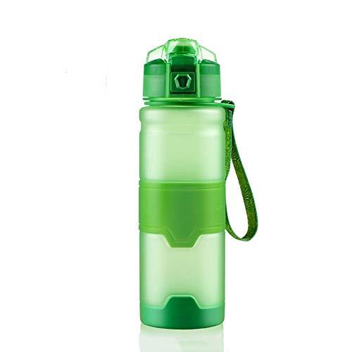 Tazas de plástico verde Space Cup botella deportiva estudiante jugando cubierta portátil a prueba de fugas, verde, 380 ml