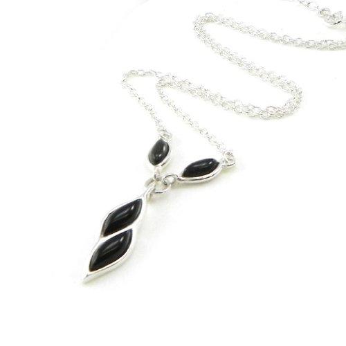 Les Trésors De Lily [I8933] - Collar plata 'Déesse Noir De Jais' .