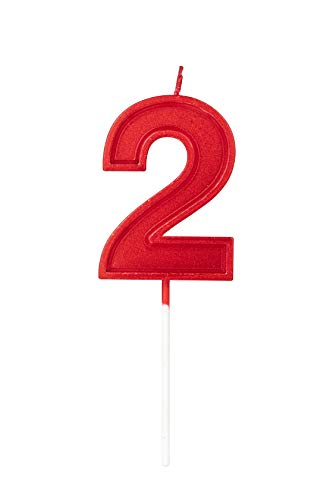 2.76in Birthday Candles Glitter Cake Red Number 2 Candles Topper Decoration for Wedding Anniversary,Kids and Adults Party Celebration (RED Number 2)