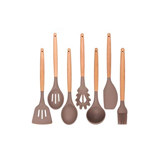JYDQM Silicona Cocina Utensilios Gadgets Mango de Madera Herramientas de Cocina Juego de Utensilios de Cocina Spatula Shovel Cuchara Casa con Caja de Almacenamiento (Size : 7Pcs Kitchen Set)