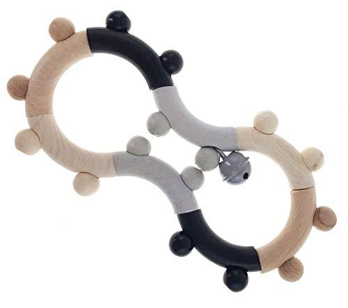Hess houten speelgoed 10126507 motoricrael achtcht, grijpping van hout, voor baby's vanaf 0 maanden, circa 17 x 2 x 8 cm, zwart