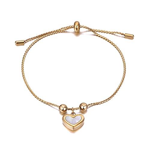 YFZCLYZAXET Pulseras Brazalete Joyería Mujer Pulseras De Acero Inoxidable con Dije De Corazón para Mujer Pulsera Ajustable Jewelry-Oro-Colore