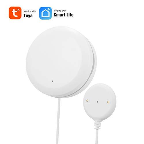 OWSOO WiFi Wasserlecksensor Wasserlecksuchgerät Alarm Wasserstand Überlaufalarm Tuya Smart Life App Fernbedienung Kompatibel mit Alexa Google Home IFTTT für die Sicherheit zu Hause