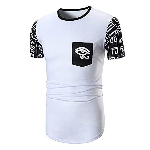 SSBZYES Camiseta para Hombre Camiseta con Cuello Redondo Camisetas Estampadas con Costura Costuras En Contraste para Hombre Autocultivo Casual Camisetas De Moda para Hombre