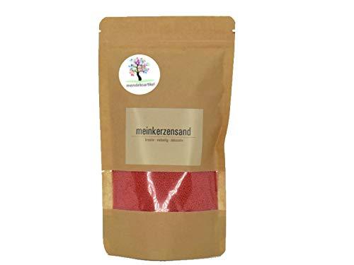 KERZENSAND Wachsgranulat 200g oder 400g in verschiedenen Farben (inkl. Docht) - Palmwachs Kerzengranulat - universal einsetzbar - kreativ - vielseitig - dekorativ (200g, Rot)
