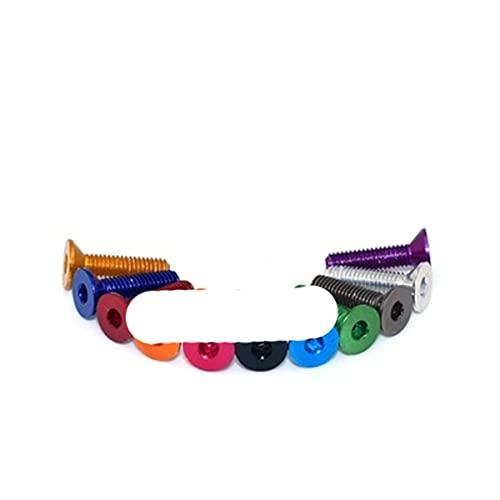 10 Uds m3 tornillo de aluminio colorido de cabeza plana DIN7991 M3 * 6/8/10/12/14/16 tornillo de cabeza avellanada hexagonal de aluminio rojo, 16mm