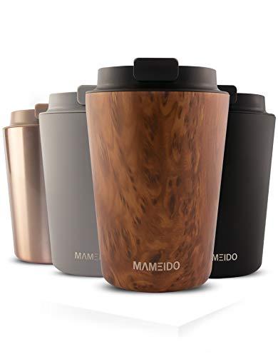 MAMEIDO Mug Isotherme 350 ml Oak Wood - Thermos Café, Tasse à thé en acier inoxydable sans BPA, 100% Hermétique, 4 heures de chaleur