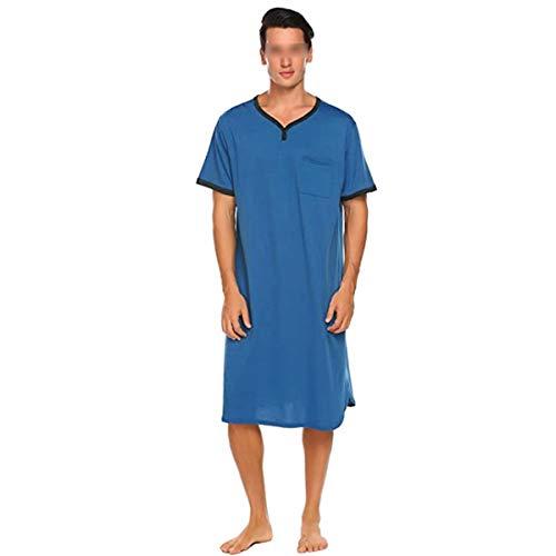 Herren-Nachthemd, Baumwolle, kurzärmelig, V-Ausschnitt, locker, bequem, für...