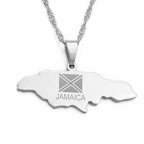 WYDSFWL Collar Jamaica Mapa Plata Color Acero Inoxidable Collares Pendientes Joyería Regalos del país de Jamaica Regalo