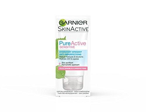 Garnier - SkinActive - Pure Active Sensitive - Hydratant Apaisant Anti-Imperfections - Peaux Sensibles à Imperfections - Lot de 2 x 50 ml