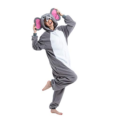 Spooktacular Creations Unisex Adult Pajama Plush Onesie One Piece Elephant Animal Costume (Medium) Grey
