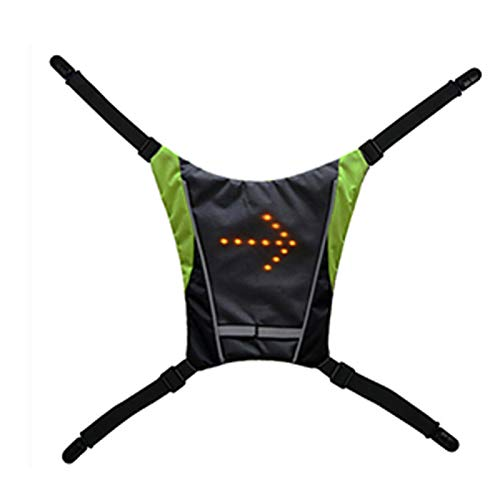 POHOVE 2 in 1 LED Turn Signal Bike Backpack Guiding Light Reflective Luminous Safety Warning Direction Backpack, USB Rechargeable LED Backpack Vest for Night Cycling Running