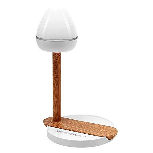 WUIO bureaulamp decoratief, mobiele telefoon draadloze tafellamp, 18 stuks LED mobiele telefoon draadloos opladen decoratieve tafellamp voor meisjes kamer, winkels, kantoor (cafés houtkleur)