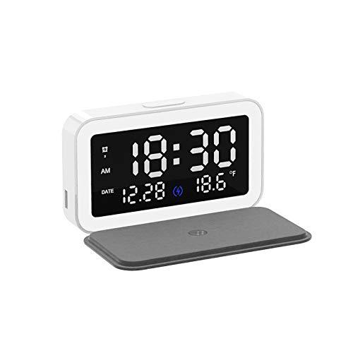 JIAOAOO Cargador inalámbrico, pantalla LED de 3 alarmas, cargador inalámbrico multifuncional de 15 W con reloj despertador de noche para oficina en casa o viajes