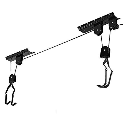 Goplus Bike Lift Hoist Heavy Duty Ceiling Mounted Hoist Storage Garage Hanger Pulley Rack, Lift Height up to 12ft (1 Pack)