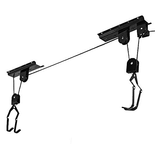 Tangkula Bike Bicycle Lift Ceiling Mounted Hoist Storage Garage Hanger Pulley Rack