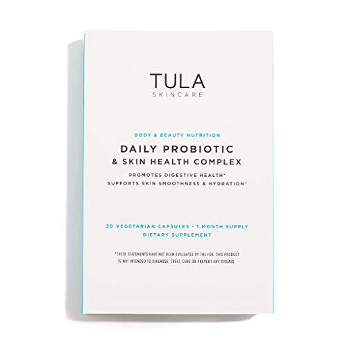 TULA Skin Care Daily Probiotic & Skin Health Complex | Women's Daily Probiotic, Digestive & Skin Health Supplement |10 billion CFU & Ceramide & Antioxidant, 3 Strains | 30 Vegetarian Capsules