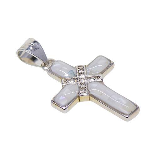 MagiDeal Cruz Charms Colgantes Collares DIY Fabricación de Joyas Resultados - Plata + Blanco, Individual