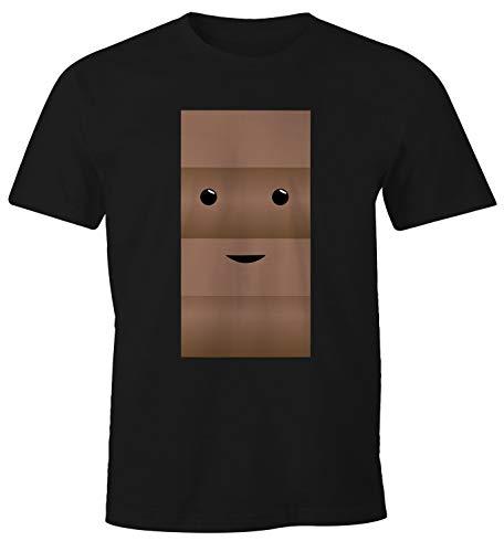 MoonWorks® Herren T-Shirt Milch und Schokolade Kostüm Parnterkostüm Pärchen Kostüm Fasching Karneval schwarz M