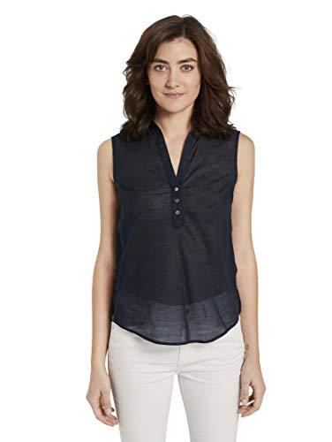 Tom Tailor Solid T-Shirt, 14482-Deep Black, 42 Donna