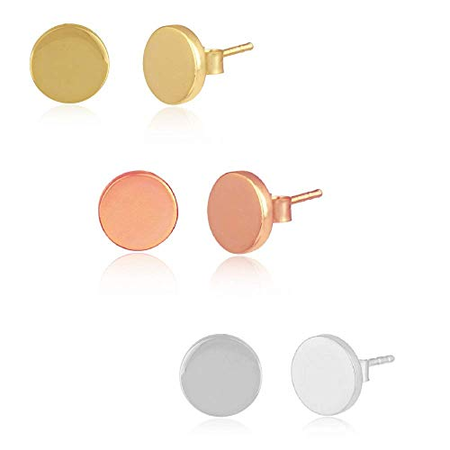 Mix and Match 925 Sterling Silver Round Earrings - Size: 10mm / 5mm x 1.8cms - Silver, Gold, Rose Gold (For Pierced Ears) Gift Boxed Jewellery (Mix and Match - Triple Pack (Large Studs))