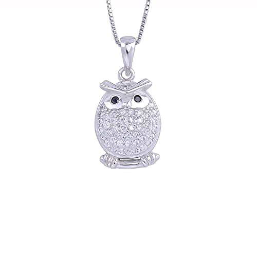Kkoqmw Collar de búho Nocturno de circonita de Plata de Ley 925 para Mujer, Bonito pájaro Volador, Colgantes de Animales, Collar, joyería para niña, Regalo