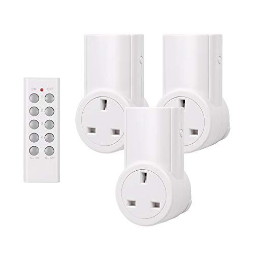 5x Noir sans fil UK plug-in mains socket /& Télécommande Commutateur d/'économie d/'énergie
